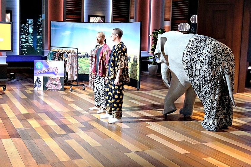 "James Brooks, left, and business partner Nathan Coleman pitch The Elephant Pants line to investors on ""Shark Tank."""