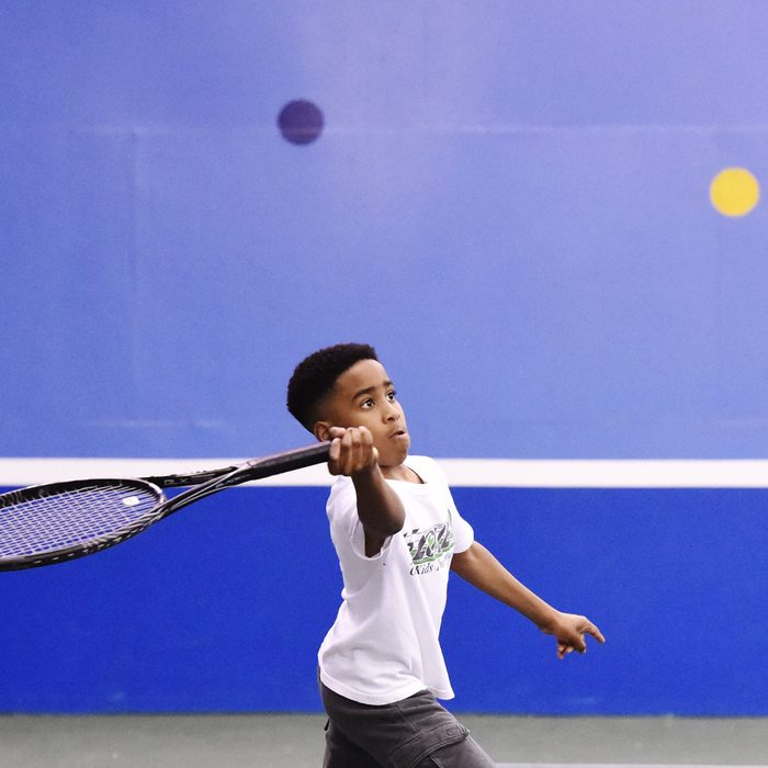 Noah Spivey, 10, of Schenectady plays tennis during the 15-LOVE event at Sportime in Rotterdam on Saturday, Feb. 25, 2017.