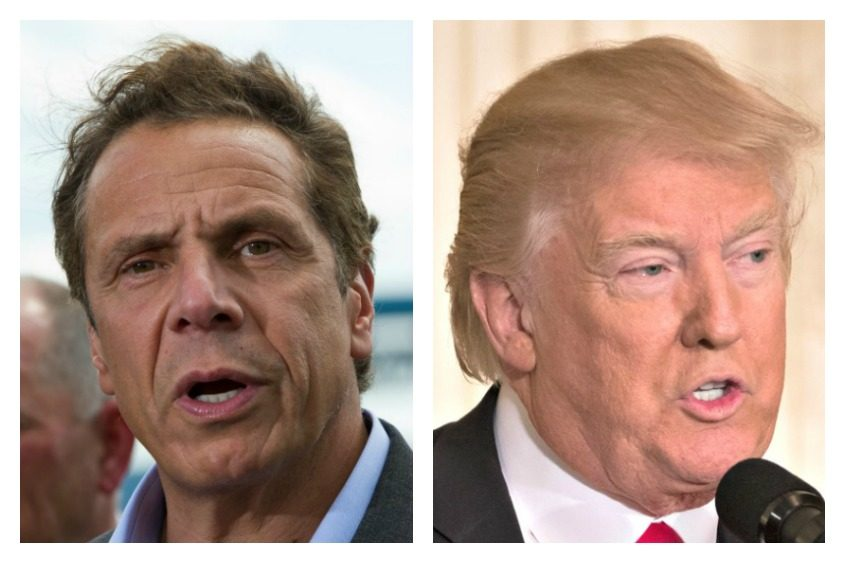 Gov. Andrew Cuomo, left, and President Donald Trump.