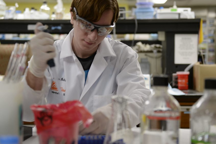 SUNY Cobleskill student Thoren Dell Aqua works in the Wadsworth Lab in the Corning Tower in Albany last month.