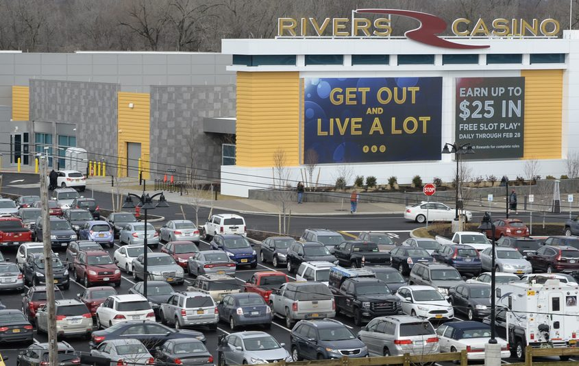 Parking became an issue 30 minutes into opening day at the Rivers Casino at the Mohawk Harbor site Wednesday, February 8, 2017.
