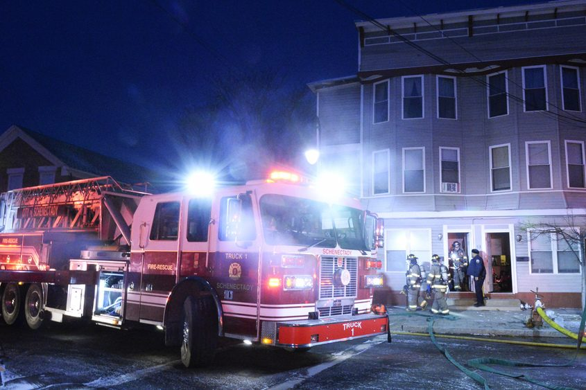 Scene at 53 N. Jay St. just after 5:30 a.m. Saturday.