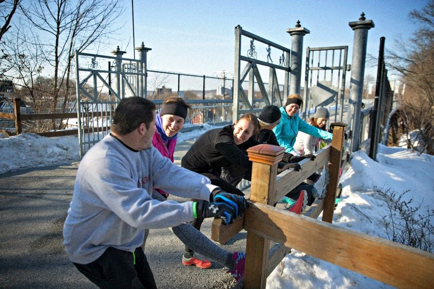 A group of runners cool down after crossing the Walkway Over the Hudson in Poughkeepsie on Feb. 18, 2017.