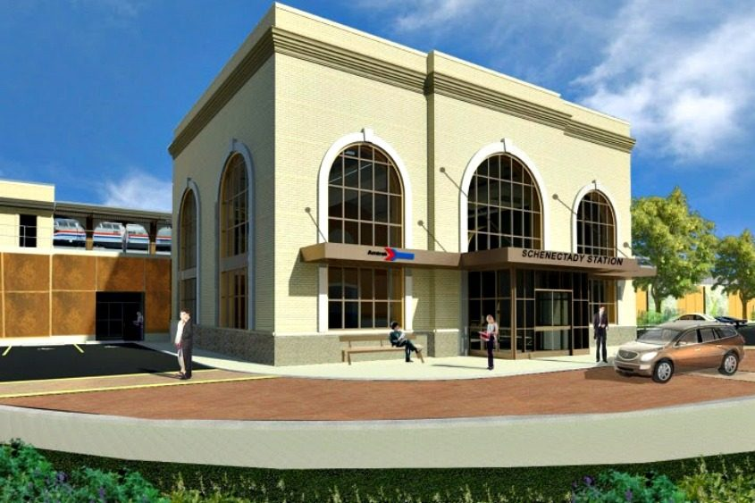 An artist's rendering of the proposed new Schenectady train station.