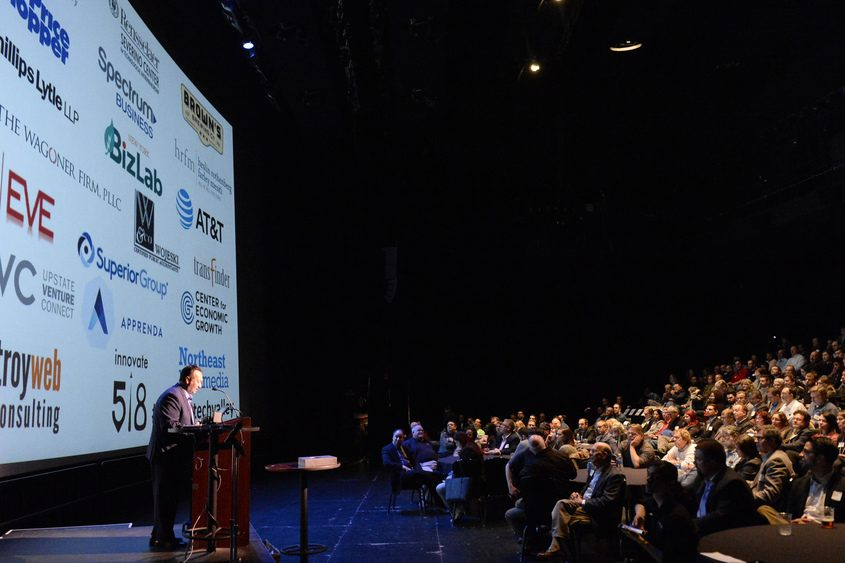 Antonio Civitella of Transfinder speaks at Wednesday's Startup Tech Valley meeting at the GE Theatre at Proctors.