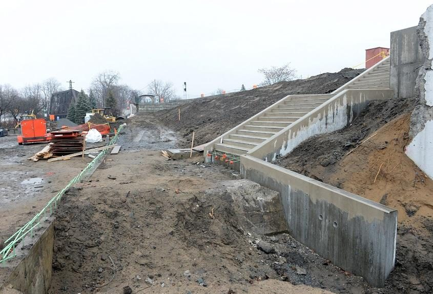 New train station construction in Schenectady.