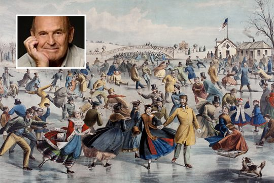 """From Dick Button's collection, the lithograph """"Central Park Winter: The Skating Pond."""" Inset: Dick Button."""