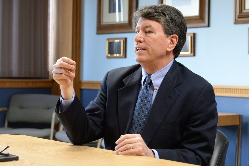 U.S. Rep John J. Faso Jr. speaks to the Gazette editorial board Tuesday.