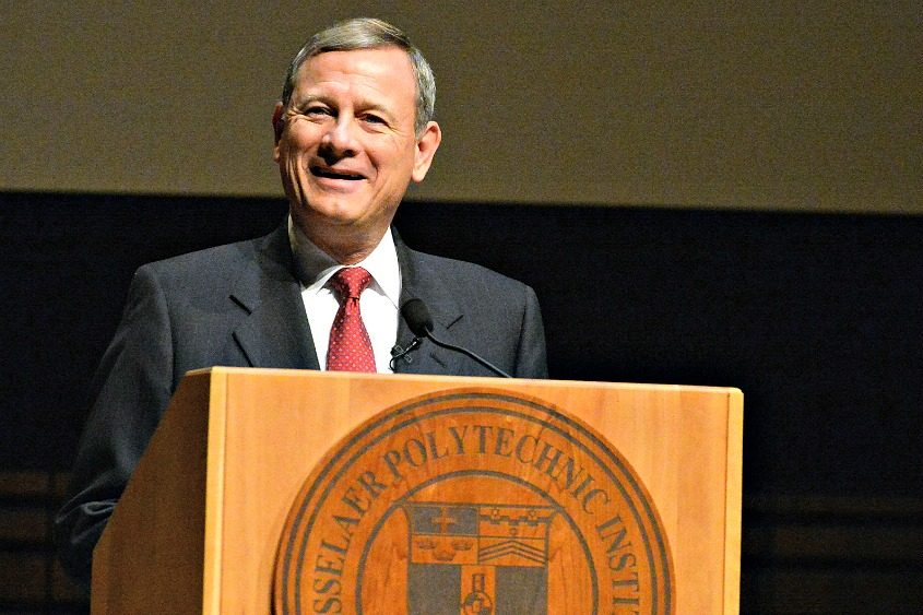 Chief Justice John Roberts speaks at RPI on Tuesday.