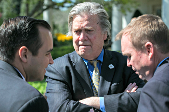 Steve Bannon, the White House chief strategist, before the swearing-in ceremony for Neil Gorsuch.