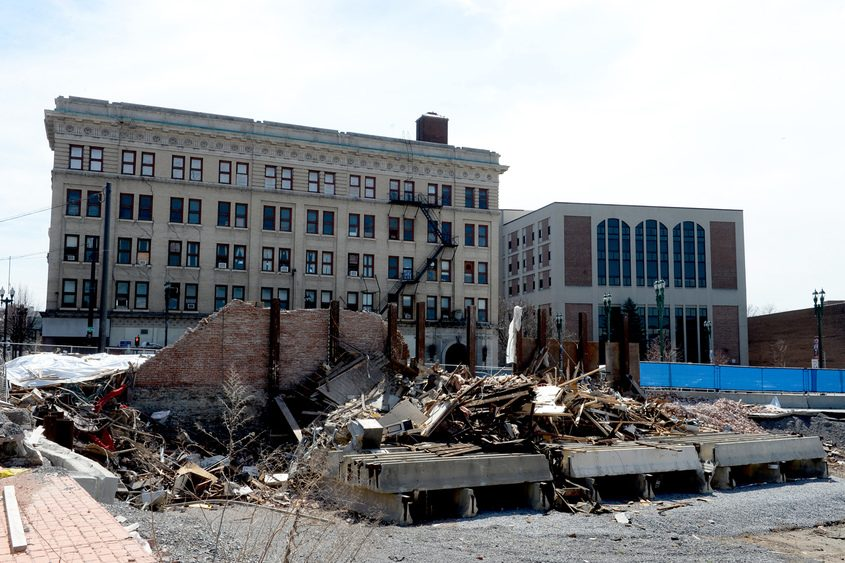 Remains of the Nicholaus Building in Schenectady on April 10, 2017.