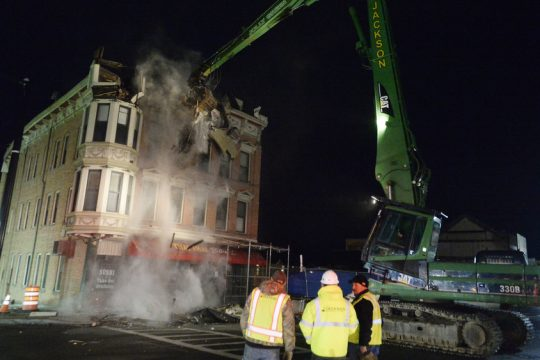 The Nicholaus Building was reduced to rubble April 7, 2017.
