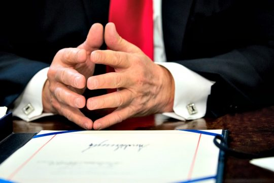 President Donald Trump during the signing of an appropriations bill for NASA.