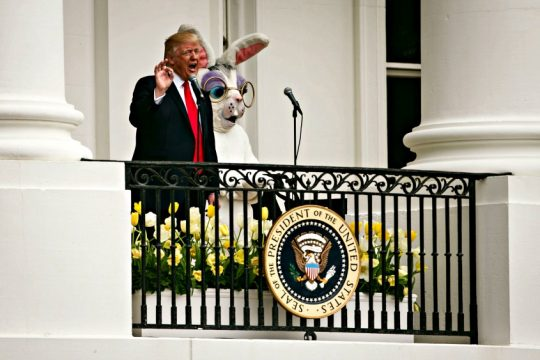 President Donald Trump with the Easter Bunny on the Truman Balcony during the annual White House Easter Egg Roll.