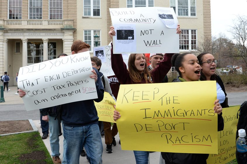 Union College students and faculty demonstrate in support of immigrants Wednesday.