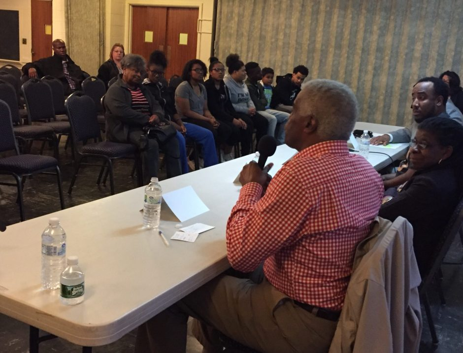 Panelists speak at a forum Thursday night in Schenectady that was aimed at educating youths about interactions with police.