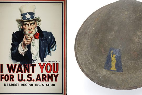 The iconic recruiting poster and a steel 77th Division army helmet from the exhibit.