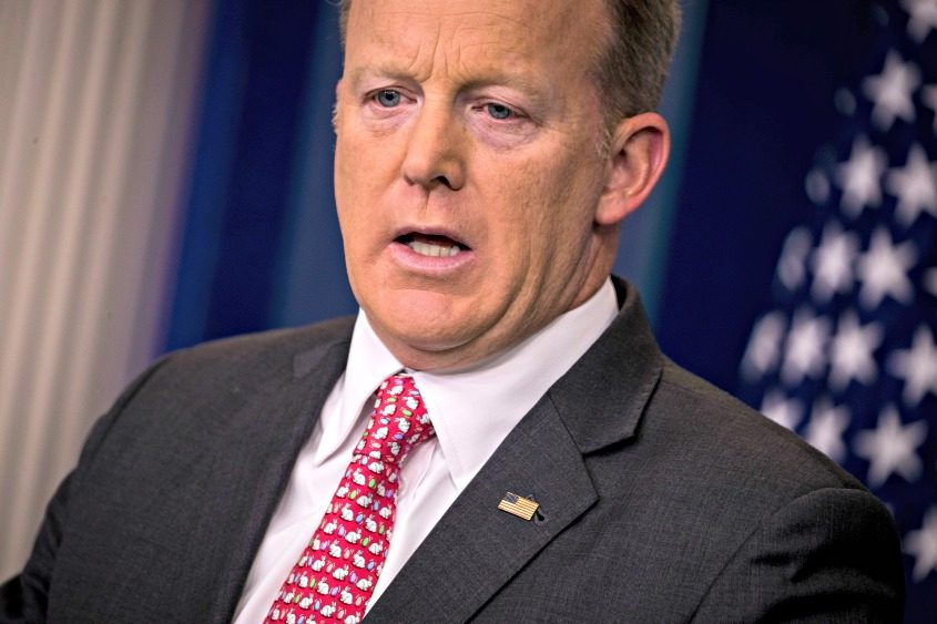 Press Secretary Sean Spicer speaks during the daily news briefing at the White House in Washington on April 17, 2017.