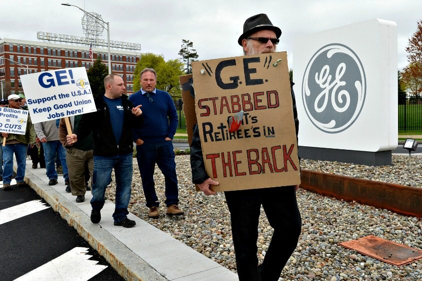 Dozens of General Electric employees and retirees gathered Wednesday, April 26, 2017, for a rally.