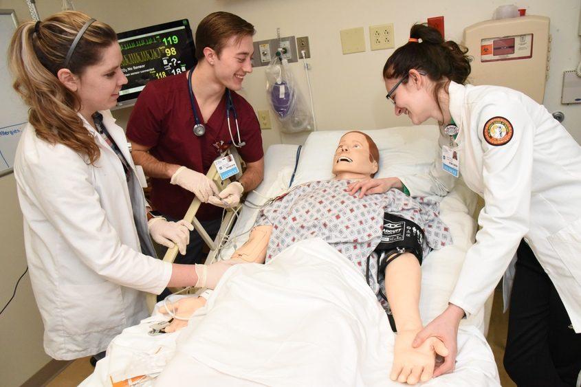 Ellis Medicine Belanger School of Nursing students Cassandra Mendez Diaz, Andrew Parkes, and Carina Possumato.