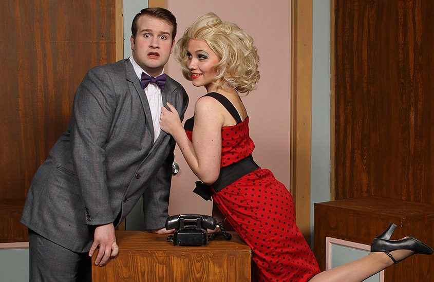 """Nick Edwards and Kaeli Heffner in SLOC's """"How to Succeed in Business Without Really Trying."""""""