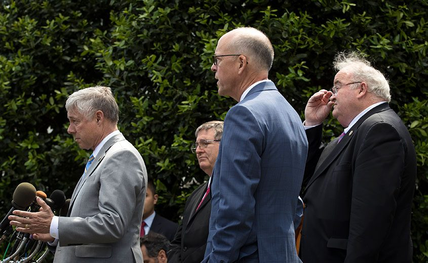 From left, Republican Reps. Fred Upton, Michael Burgess, Greg Walden and Billy Long after meeting with President Trump.