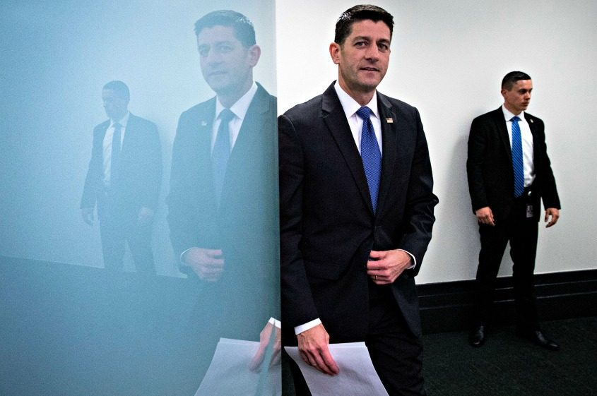 House Speaker Paul Ryan following a House Republican caucus meeting on Capitol Hill in Washington on April 26, 2017.