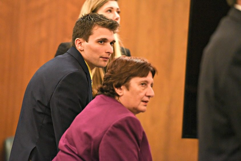 Alexander West and his attorney, Cheryl Coleman, listen to the jury's verdict Monday.