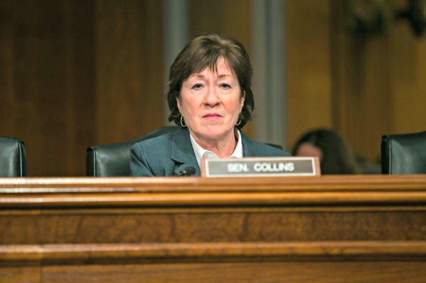 Sen. Susan Collins (R-Maine) at a hearing before the Senate Health, Education, Labor and Pensions Committee on Capitol Hill.