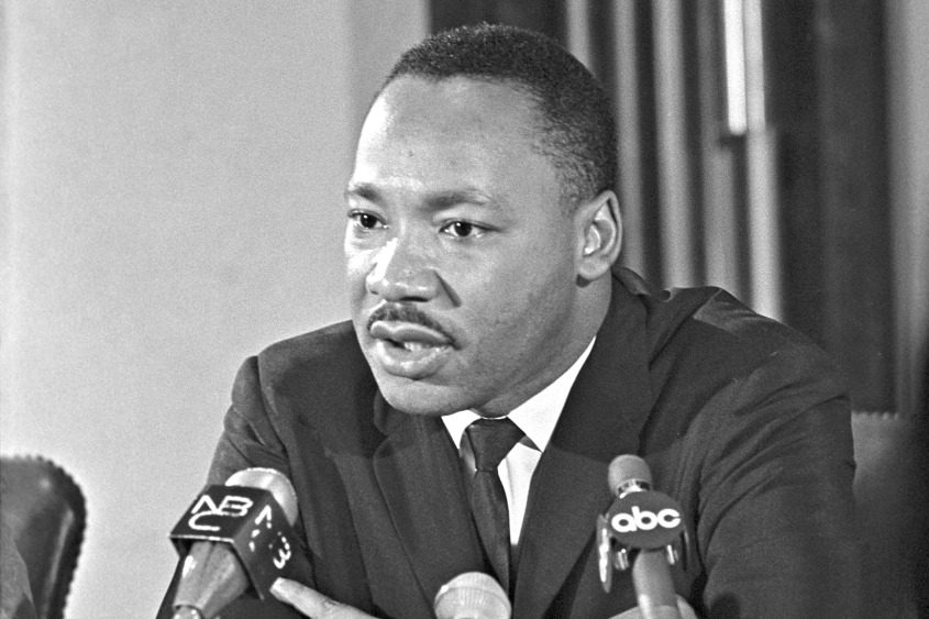 Martin Luther King Jr. during a news conference at the Abyssinian Baptist Church in Harlem on Nov. 14, 1965.