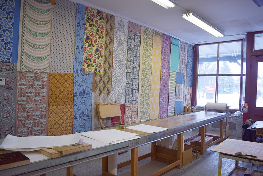 Designs hang from the walls at Adelphi Paper Hangings in Sharon Springs.
