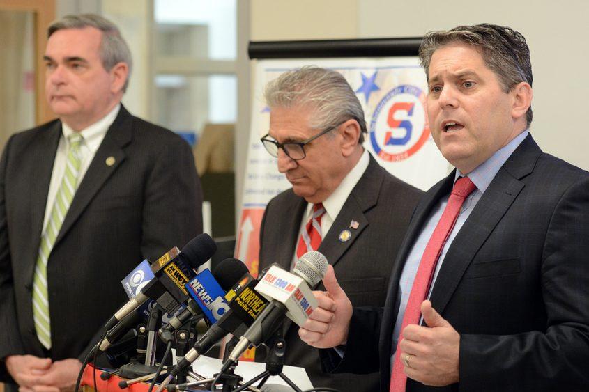 Schenectady schools Superintendent Larry Spring talks during a news conference Monday at Mont Pleasant Middle School.