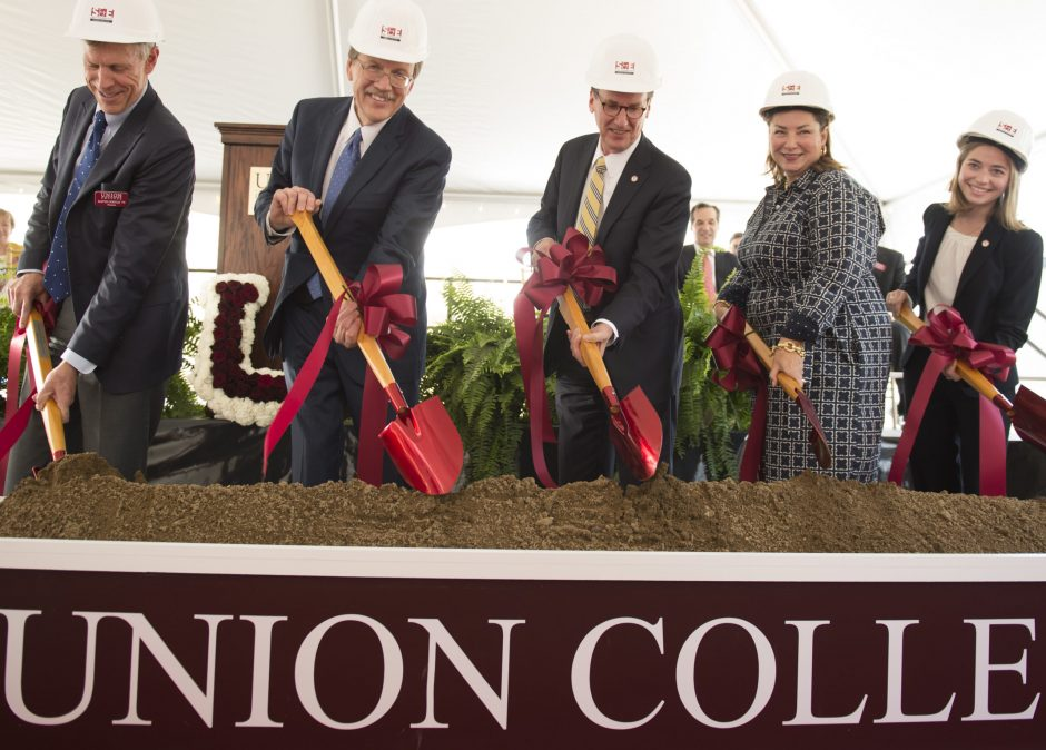 Ground is broken for Union College's Science and Engineering Center on Friday.