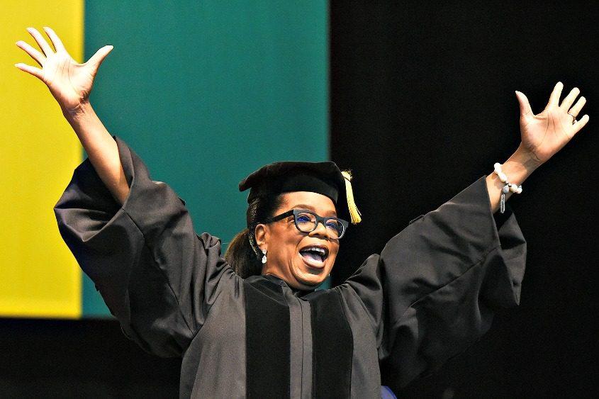 Oprah Winfrey speaks at Skidmore College's graduation ceremony Saturday.