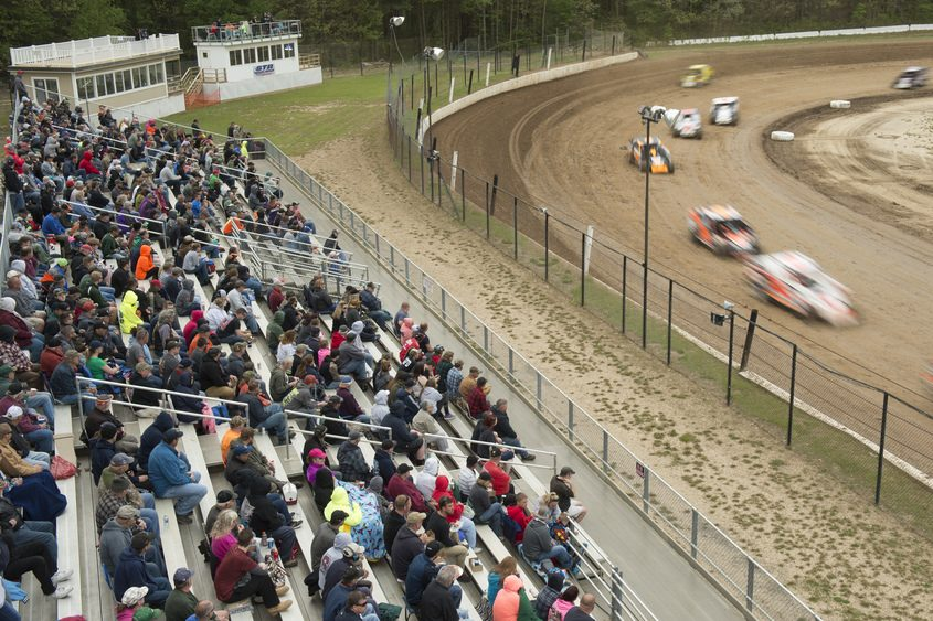 Racing fans watch one of several heats at Albany-Saratoga Speedway in Malta on May 19.