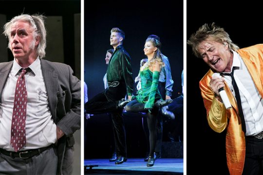 "From left: Barrington Stage's ""Kunstler,"" Riverdance and Rod Stewart."