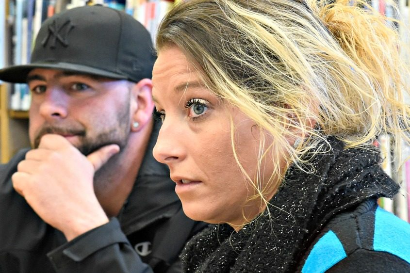 Recovering heroin addict Nicole Ranieri and Matthew Flandras during a Breaking Barriers Advocacy Group meeting.