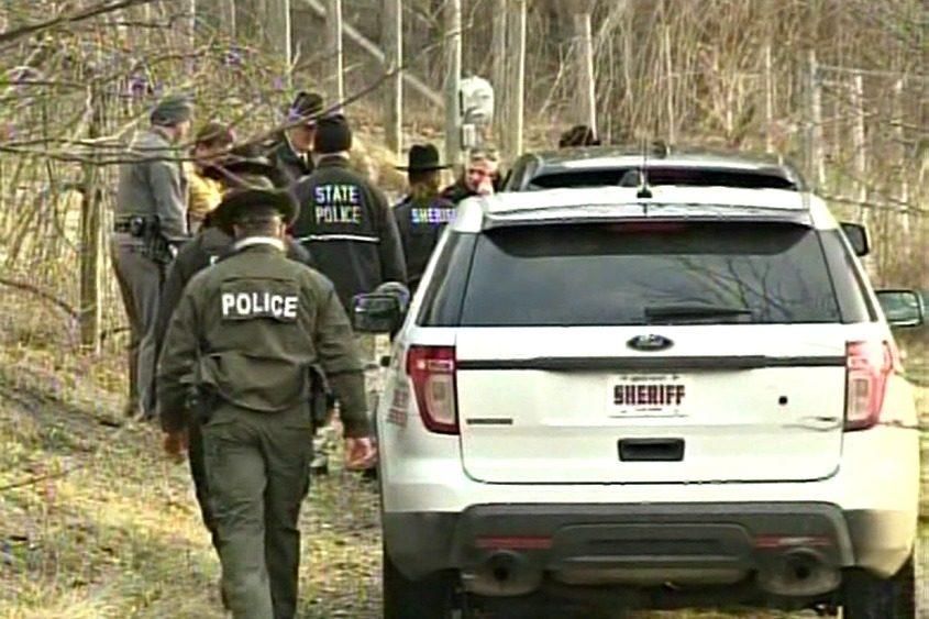 Investigators on the scene in February.