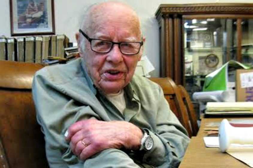 Rudy Dehn, a 97-year-old GE retiree who helped develop the microwave oven in the 1960s, sits in the research room at miSci.