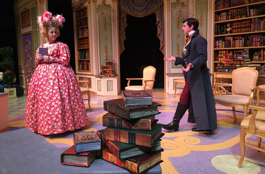 """A scene from """"The Learned Ladies,"""" with set design by Charles Steckler."""