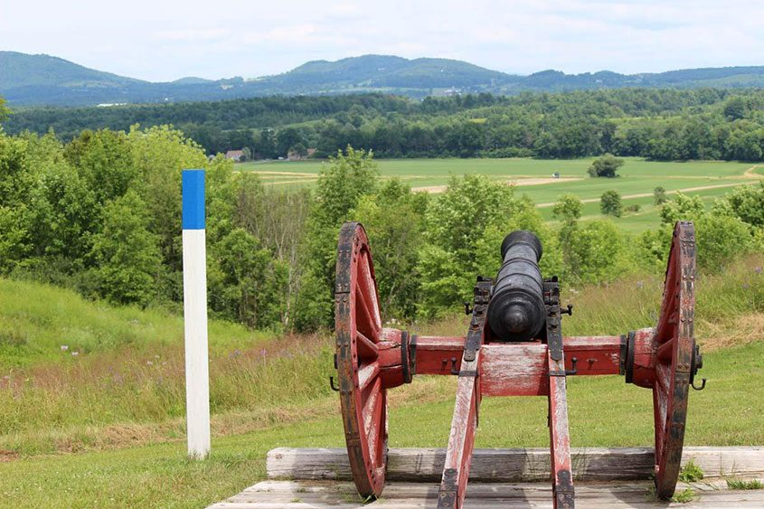A cannon at the Bemis Heights tour stop at Saratoga National Historical Park in July 2014.
