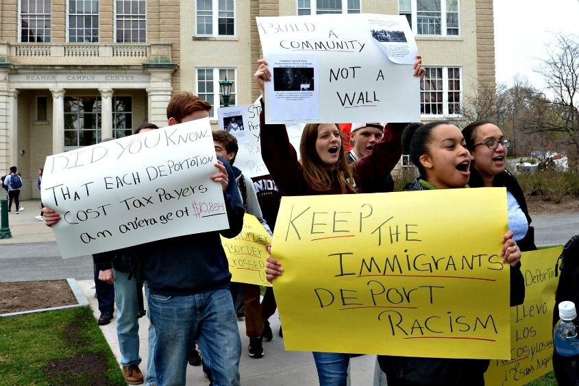 Protesters rally in solidarity with immigrants in April at Union College.