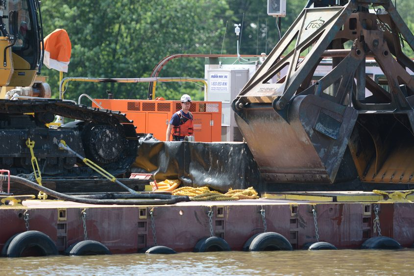 PCB dredging operations on the Hudson River in Mechanicville on June 19, 2015.