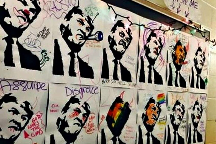 The artwork included profanities and criticisms of Trump's presidency.