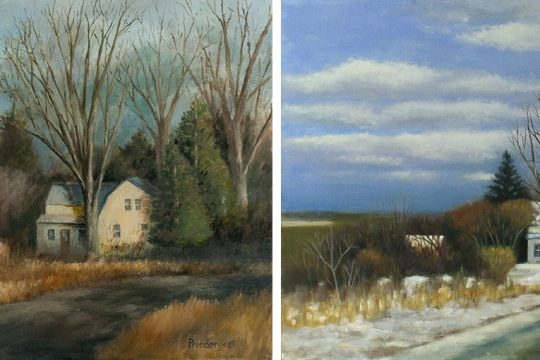 The same scene as painted by Tim Prendergast (left) and Deborah Angilletta.