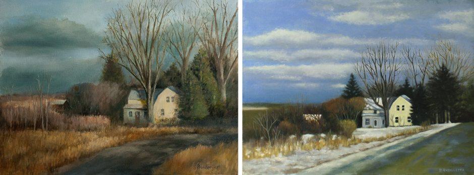 The same scene as painted by Tim Prendergast (left) and Deborah Angilletta.