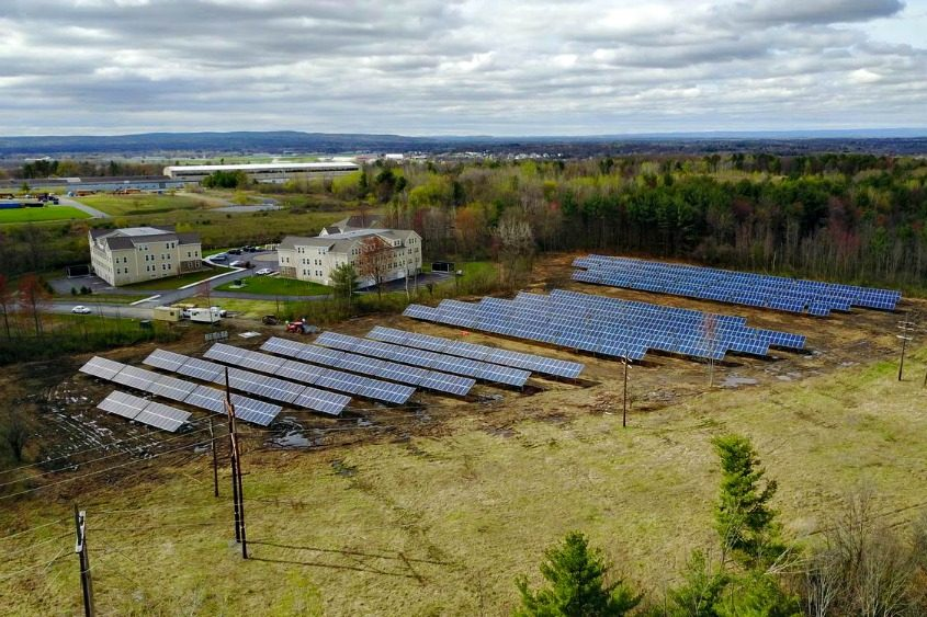 The solar energy array is seen in this provided image, captured by drone.