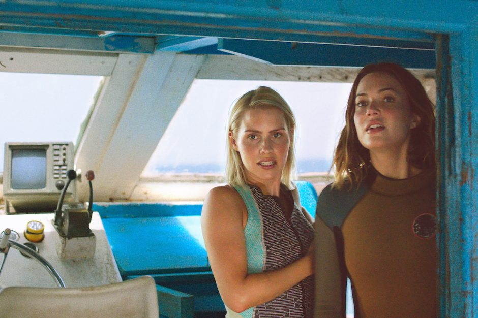 "Claire Holt, left, and Mandy Moore play sisters in ""47 Meters Down."""