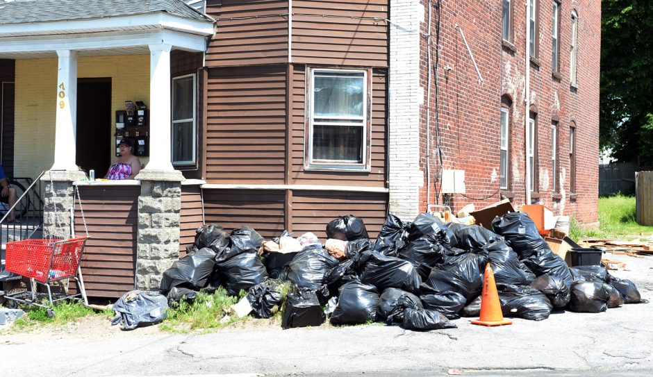 Garbage collects at 709 Crane St. in Schenectady.