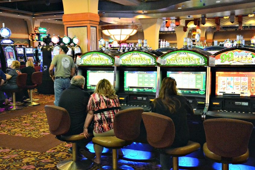 Patrons play at the racino in Saratoga on May 27, 2013.